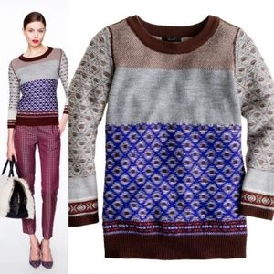 J Crew Inside-out Fair Isle Sweater Diamond Patter